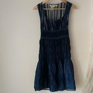 Max Studio Small Blue Boho Scrunch Dress